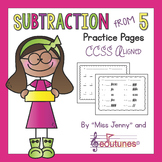 """""""KinderMath"""" Subtraction From 5 Practice Pages"""
