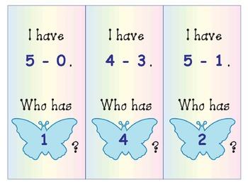 Subtraction From 5: Six Butterfly-Themed I Have-Who Has Games: Full-Color, BW