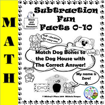 Subtraction Fun Facts 0 - 10: Black and White Resource
