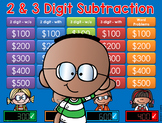 Subtraction Jeopardy Style GAME SHOW - 2 & 3 digits 2nd Grade