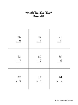 Subtraction Game- 2 digit Tic-Tac-Toe