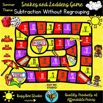 Subtraction Game: 2-digit subtraction without regrouping | Summer Theme