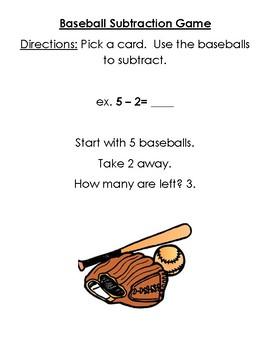 Subtraction Game (Baseball Theme)