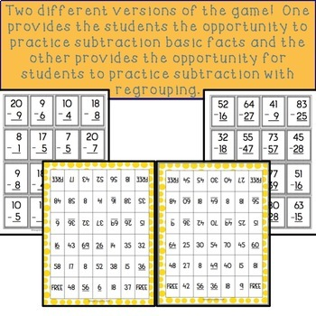 Subtraction Regrouping Game PLUS Subtraction Basic Fact Game