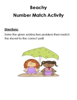 Subtraction Game Beach Theme - DIFFERENTIATED!