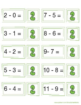 Subtraction Game Cards