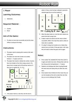 Subtraction Game - Robot Run