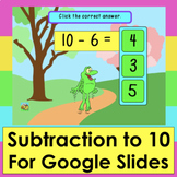 Subtraction Game for Google Slides 50 Self-Checking Facts
