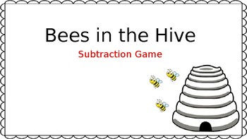 Bees in the Hive Subtraction Game for Kindergarten * No PREP