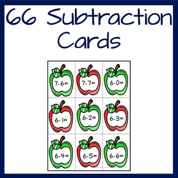 Subtraction Game with basic subtraction facts 0-0 to 10-10 Apple Themed
