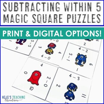 Subtracting within 5 Math Center Game