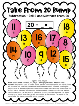 Subtraction Bump Games: 25 Subtraction Games for Subtraction Facts Fluency