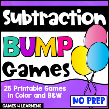 Subtraction Games 25 Subtraction Facts Bump Games