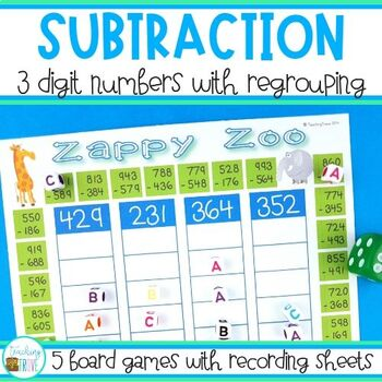 image regarding Subtraction With Regrouping Games Printable identified as A few Point Subtraction With Regrouping Worksheets