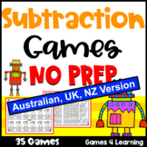 Subtraction Games NO PREP for Subtraction Facts [Australian UK NZ CAN Edition]