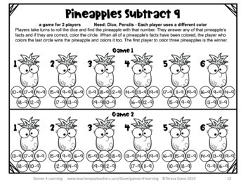 Subtraction Games NO PREP Math Games for Subtraction Facts