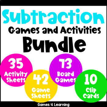 Subtraction Games and Activities for Subtraction Facts Bundle
