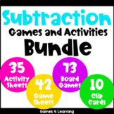 Subtraction Games and Activities Bundle for Subtraction Facts Fluency
