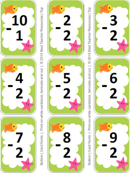 Subtraction Go Fish Game - Numbers 1-9