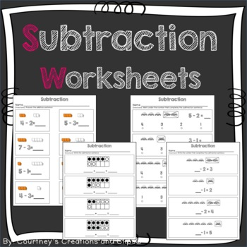 Subtraction- Goes well with Go Math Kindergarten