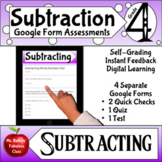 Subtraction Google Form Assessments 4th grade Math Distanc