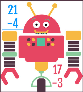Subtraction Grade 1, robot illustration, 100 problems, 2 sheets