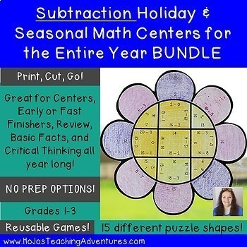 Subtraction Holiday & Seasonal Math Centers for the Entire