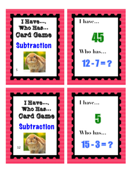 Differentiated Subtraction - I Have... Who Has... Card Game
