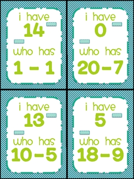Subtraction: I have... Who has?
