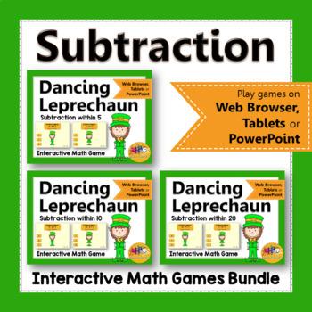 Subtraction Interactive Math Games {Dancing Leprechaun} Bundle