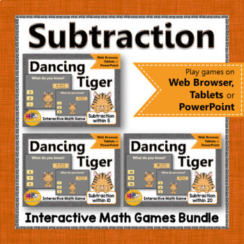 Subtraction Interactive Math Games {Dancing Tiger} Bundle