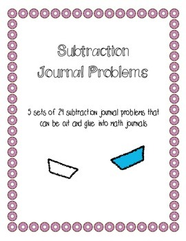 Subtraction Journal Problems
