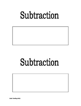 Subtraction Key Word Poster Blank