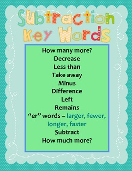 Subtraction Key Words