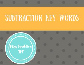 Subtraction Key Words