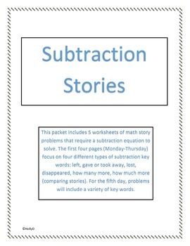 Subtraction Key Words in Math Stories