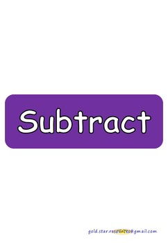 Subtraction Keywords on Purple Take Away Shapes for Display