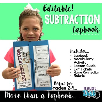 Subtraction Lapbook {EDITABLE}  Two & Three Digit Subtraction Activities & MORE