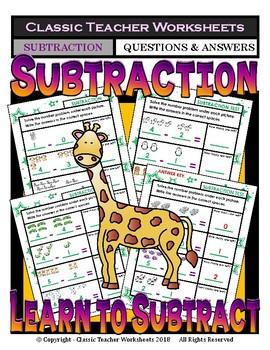 Solve the Subtraction Number Problem - Kindergarten Grade 1 (1st Grade)