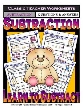 Subtraction-Subtract with Pictures- Facts to 9- Kindergarten Grade 1 (1st Grade)
