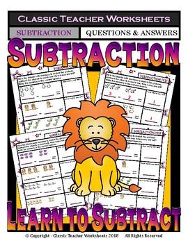 Subtraction Number Sentence to Match Pictures - Kindergarten Grade 1 (1st Grade)