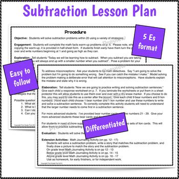 Math Lesson 1st Grade Subtraction