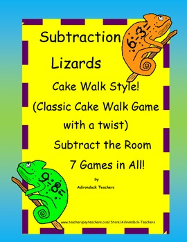 Subtraction Lizards within 10 Cake Walk Style Write the Ro