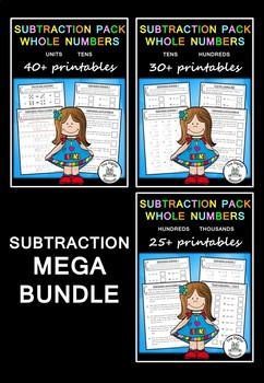 Subtraction MEGA Bundle – 100+ PRACTICE printables