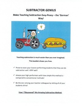 """Subtraction Made Easy - The """"Subtractor Genius"""" Method (Teaching Guide)"""