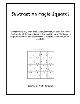 Magic Square Puzzle: Subtraction