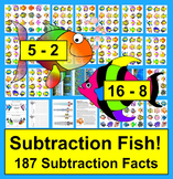 End of the Year Math Activities: Subtraction Magnetic Fishing! 187 Subt Facts!