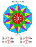 Subtraction Mandala Math Color by Number Bundle