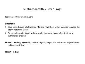 Subtraction Mat-Five Green Frogs