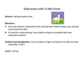 Subtraction Mat-Five Little Ducks
